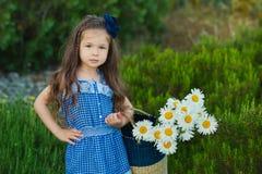 La jeune fille mignonne dans des jeans habillent la position près des fleurs jaunes avec le panier plein de la camomille photo libre de droits