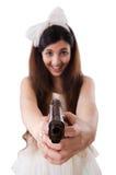 La jeune jeune mariée dans le concept drôle sur le blanc Photos stock