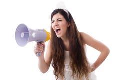 La jeune jeune mariée dans le concept drôle sur le blanc Images libres de droits
