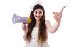 La jeune jeune mariée dans le concept drôle sur le blanc Photographie stock