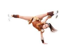 La jeune majorette professionnelle s'est habillée dans une position de costume de guerrier d'une part Photos libres de droits
