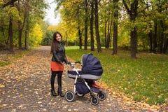 La jeune maman de sourire marche avec le landau en parc de jaune d'automne Photos stock