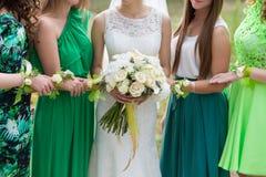 La jeune mariée avec des amies Images libres de droits