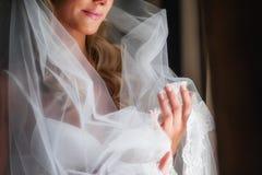 La jeune mariée avec un voile Photo libre de droits