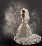 La jeune mariée dans la robe de mariage avec le voile, façonnent le portrait nuptiale de beauté photographie stock