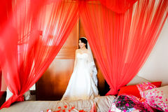 La jeune mariée dans le voile rouge Images stock