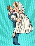 La jeune mariée de mariage remet le marié Photos libres de droits