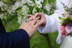 La jeune mariée donne une bague de fiançailles à son marié Photos stock