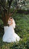 La jeune mariée en parc à Chengdu, porcelaine Image libre de droits