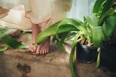 La jeune mariée est aux pieds nus avec les pieds nus se tenant sur une étape près de l'eau Images libres de droits