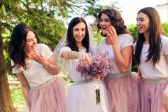 La jeune mariée et les amies ont l'amusement Photographie stock libre de droits