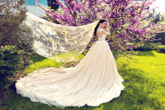 La jeune mariée magnifique dans la robe de mariage et la couronne posant en été de fleur font du jardinage photo libre de droits