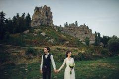 La jeune mariée magnifique et le marié élégant marchant au paysage ensoleillé, les épousent images stock
