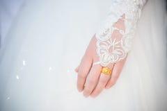 La jeune mariée porte une robe, un mariage, une belle robe avec le wedd Image libre de droits