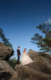 La jeune mariée répand sa robe avant un marié tout en posant sur les roches photo libre de droits