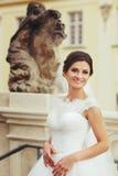 La jeune mariée renversante de brune pose derrière de vieux chiffres de marbre Image libre de droits