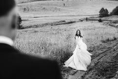 La jeune mariée tourbillonne sur la route de champ et regarde un marié Photographie stock libre de droits
