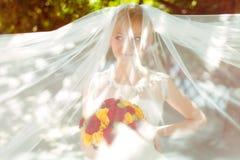 La jeune mariée regarde drôle cachée sous un voile Images stock