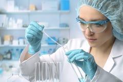 La jeune technologie femelle ou le scientifique exécute l'analyse de protéine photos libres de droits
