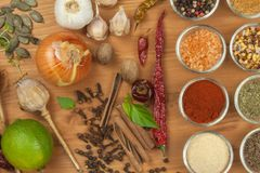 La joie de la cuisson, préparation des épices Divers genres d'épices sur un conseil en bois Préparation de nourriture Images libres de droits