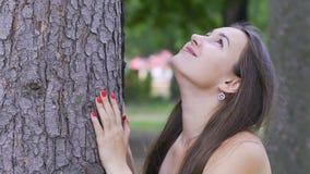 La jolie dame sourit recherche l'arbre, femme heureuse apprécie la nature sous un arbre énorme banque de vidéos