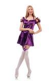 La jolie femme dans la robe pourpre de suède Photo stock