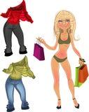 La jolie fille blonde nue de glamur d'achats avec vêtent Photographie stock libre de droits