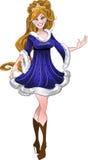 La jolie fille d'an neuf dans la robe bleue Photographie stock libre de droits
