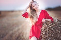 La jolie fille porte la pile proche de robe rouge de foin dans le domaine images stock