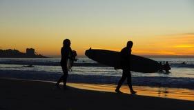 la jolla подпирает серфер захода солнца Стоковое Фото