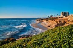 La Jolla Beach At Sunset. Beach scene in La Jolla, California royalty free stock image