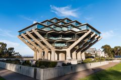 UCSD Geisel Library. LA JOLLA, CALIFORNIA - FEBRUARY 17, 2018:  The Geisel Library, is the main library building of the University of California San Diego campus Royalty Free Stock Photos