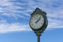 LA JOLLA, CALIFORNIA, USA - NOVEMBER 6, 2017: The famous Rolex clock on the first tee of Torrey Pines golf course near San Diego. stock photo