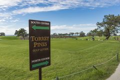 LA JOLLA, CALIFORNIA, USA - NOVEMBER 6, 2017: The North Course and South Course sign on the first tee of Torrey Pines golf course stock image