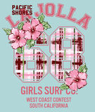 La Jolla Girl surfing. Vector floral artwork for girls sportswear royalty free illustration