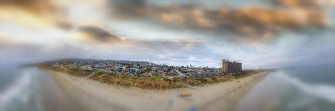 La Jolla Palisades Park panoramic aerial view at dusk, San Diego stock image