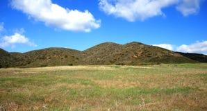La Jolla Peak Panorama. Mountains above a green field, Malibu, CA Stock Photography