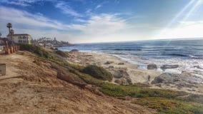 La Jolla Windnsea Beach in San Diego California. Tiki Hut San Diego Beach Rocks Bird Rock Royalty Free Stock Images