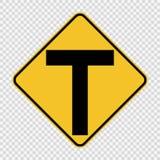 La jonction en avant, l'intersection principale est en forme de t connectez-vous le fond transparent illustration stock
