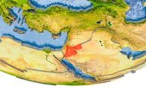 La Jordanie en rouge sur le modèle de la terre Image stock