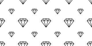 La joyería cristalina del modelo inconsútil de la gema del diamante aisló blanco del fondo del papel pintado del vector ilustración del vector
