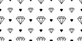 La joyería inconsútil del vector del modelo de la gema del diamante aisló blanco del fondo del papel pintado de la noche del espa stock de ilustración