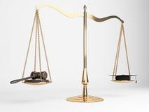 La justice mesure le chapeau de marteau Photo libre de droits