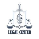 La justicia de centro legal escala el icono heráldico del vector Imagen de archivo libre de regalías