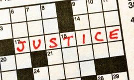 La justicia de la palabra en crucigrama fotografía de archivo libre de regalías