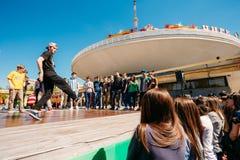 La juventud de la danza de la batalla combina en el festival de la ciudad en Gomel, Bielorrusia Fotografía de archivo