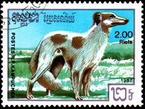 LA KAMPUCHEA - CIRCA 1987: il francobollo, stampato in Kampuchea, mostra un cane dei borzoi, serie cresce cani Fotografie Stock Libere da Diritti