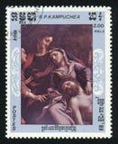 LA KAMPUCHEA - CIRCA 1984: Un bollo stampato in Kampuchea Cambogia mostra una pittura, circa 1984 fotografia stock