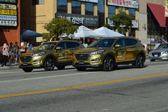 LA Korea Festival Parade  Koreatown Los Angeles. Gold SUVs in parade in LA Korean Festival 2015 Stock Photos