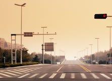 La lámpara de señal y una marca del paso de peatones Fotos de archivo libres de regalías
